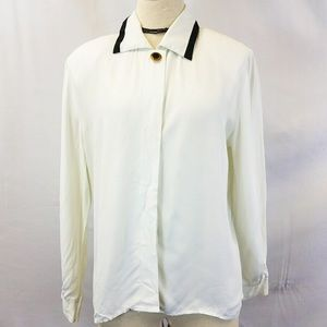 Vintage Panther Off-White Button Down Blouse